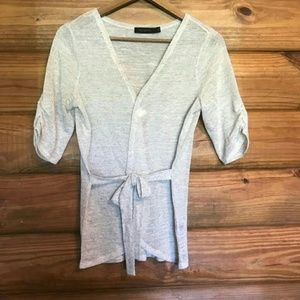 LIMITED Wrap Lightweight Sweater Blouse Tan